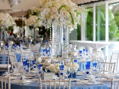 Blue And Silver Wedding Centerpieces Cobalt blue white
