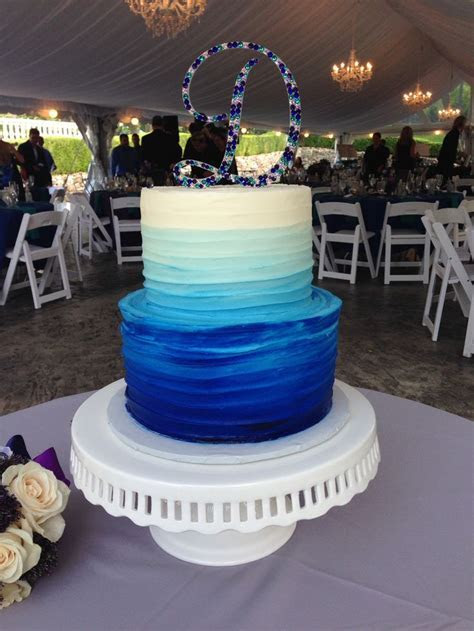 Textured buttercream wedding cake, 2 tier, blue ombre