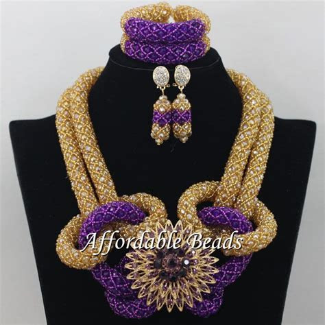 Gold Purple Wedding Costume Jewelry Nice Dubai Gold