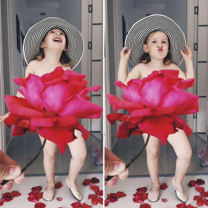 Mãe veste a filha com flores e comida usando a perspectiva forçada e conquista a internet 09