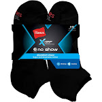 Hanes Men's FreshIQ Comfort Cool No Show Socks, Black