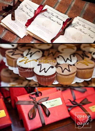 wedding favors with red and brown