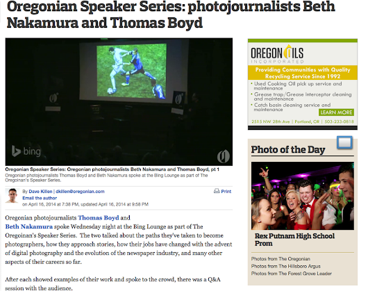 Hear me talk about my work during the Oregonian's Speaker Series