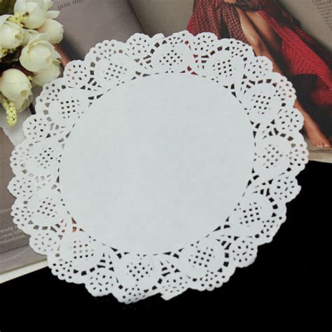 50Pcs Round Paper Lace Doilies Cookies Cake Placemat