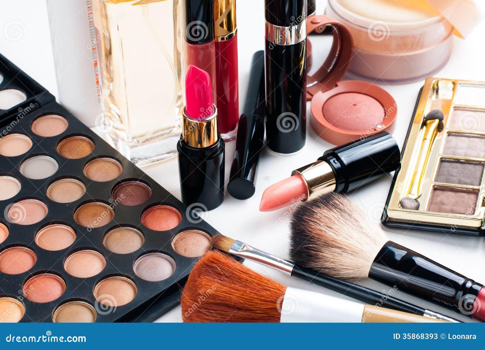 makeup cosmetics set professional eyeshadow palette lipstick mascara blush powder make up brushes perfume many closeup 35868393