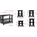 Aleratec 3-Tier LCD LED TV Stand Entertainment Rack with Wheels