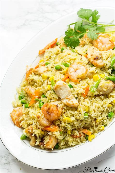 chicken  shrimp fried rice african style precious core