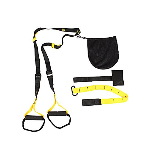 Professional Suspension Strap, Fozela Fitness Bands Full Body Home Gym Trainer Body Weight Training System For Strength Endurance Crossfit Aerobic Exercise, Yellow
