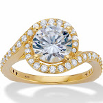 2.61 TCW CZ 14k Gold over Silver Engagement Ring