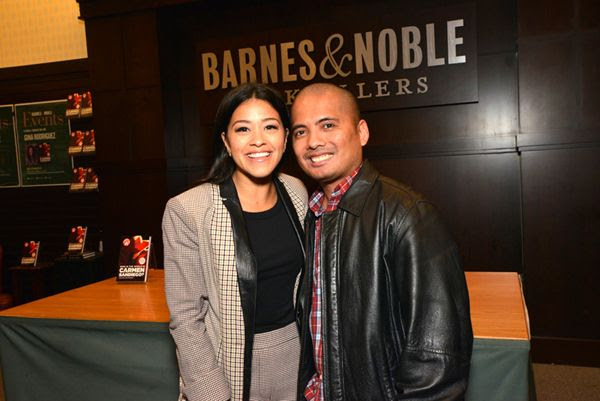 Posing with Gina Rodriguez inside Barnes & Noble bookstore at The Grove in Los Angeles...on February 2, 2019.