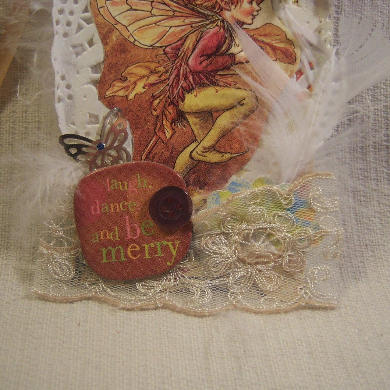 Laugh Dance Be Merry Shabby Vintage Hang Tag Fairy