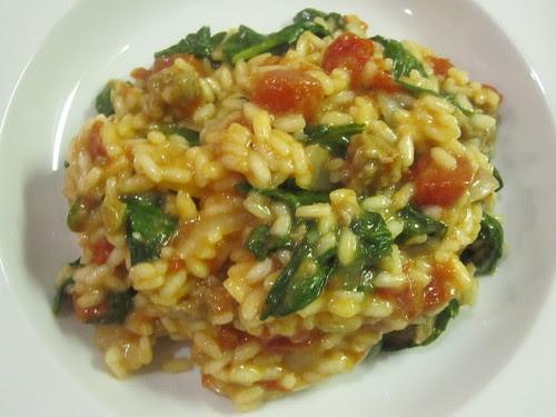Sausage, spinach, tomato risotto
