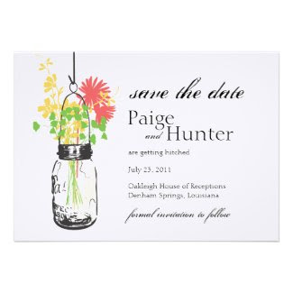 Vintage Mason Jar & Wild Flowers Save the Date Custom Announcements