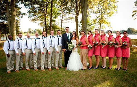 Emerald, Navy and Coral Wedding   Bow Ties and Suspenders