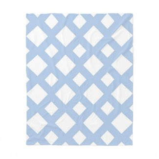 Light Blue Lattice on White Fleece Blanket