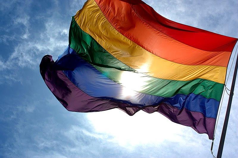 Archivo:Rainbow flag and blue skies.jpg