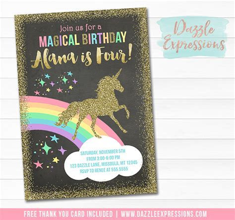 Printable Unicorn Chalkboard Birthday Invitation   Magical