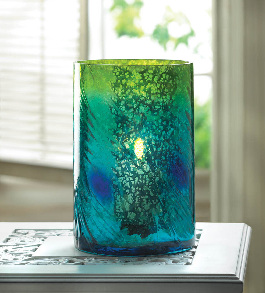 teal blue PEACOCK mercury glass cylinder Candle Holder ...