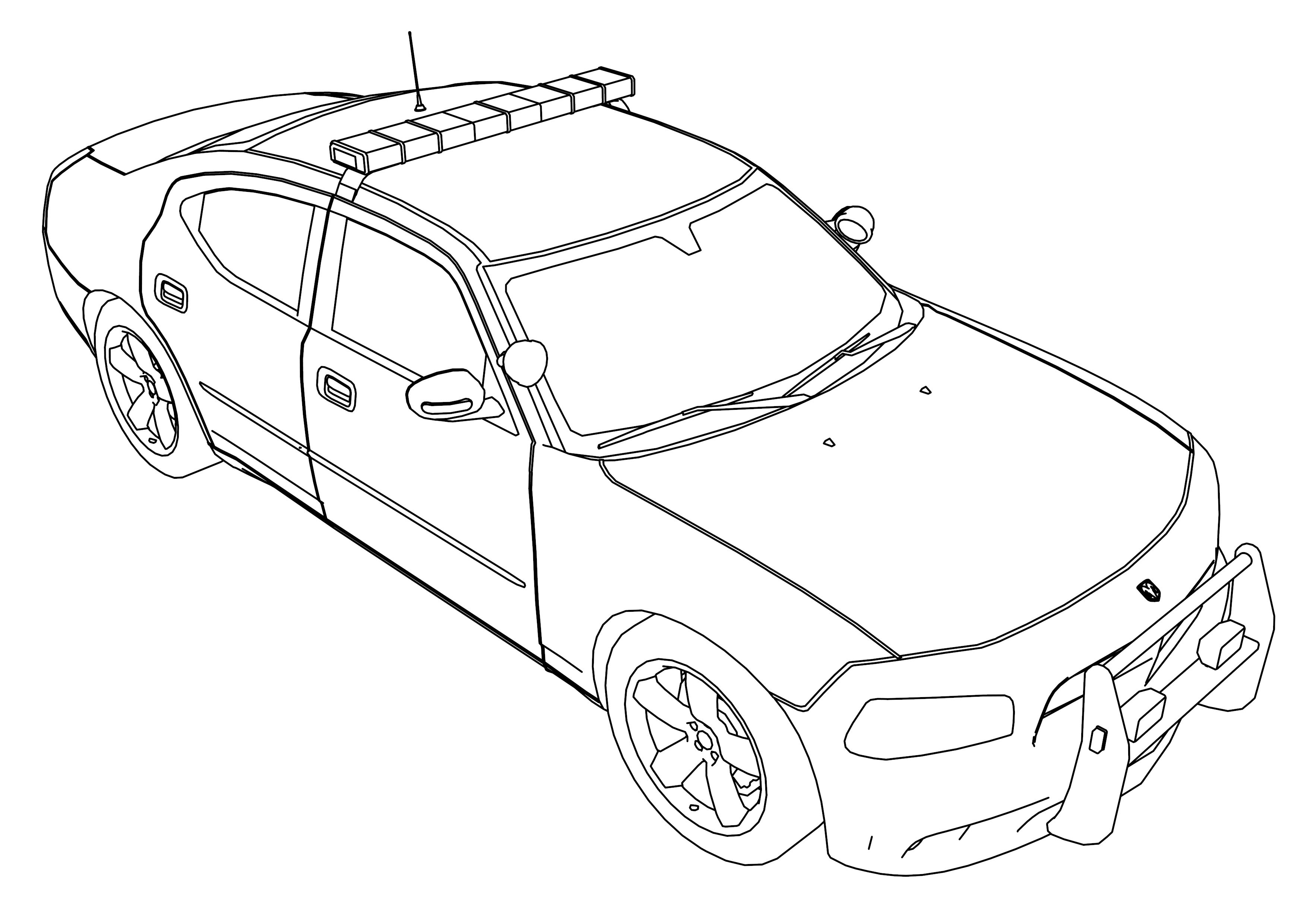 Police car coloring pages to download and print for free