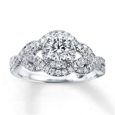 Diamond Engagement Ring 1 ct tw Round cut 14K White Gold