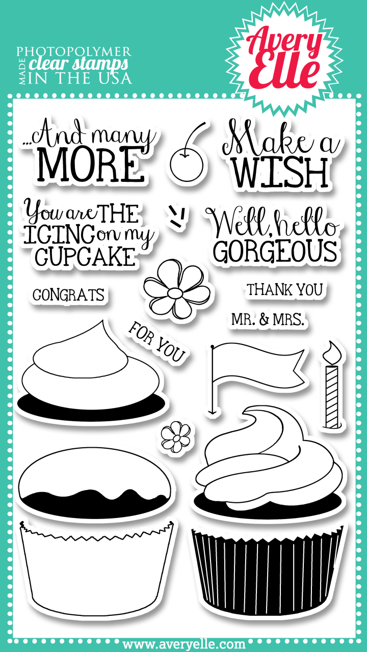 """Our 4"""" x 6"""" Cupcakes clear photopolymer stamp set is perfect for creating a sweet greeting.  The sentiments included in this set are great for birthdays or a sweet hello."""