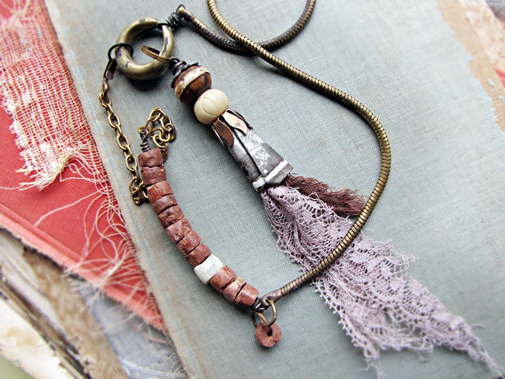 Whitethorn - tribal assemblage necklace - vintage lace - bauxite beads
