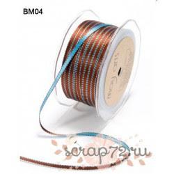 Атласная лента от May Arts двухцветная, цвет голубой/коричневый, 5мм, 90см