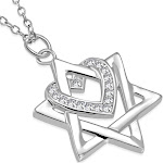 925 Sterling Silver White Clear CZ Jewish Star of David Love Heart Pendant Necklace