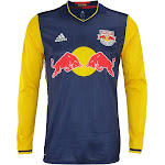 adidas MLS Men's New York Red Bulls Authentic Long Sleeve Jersey, Navy Size - Large