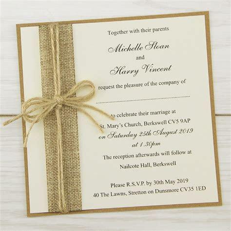 Rustic Burlap Layered Square Wedding Invitation   Pure