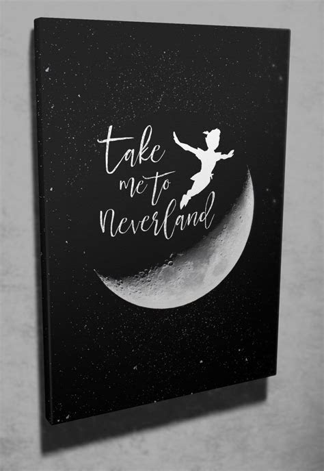 """Wall art """"Take me to Neverland"""" Peter Pan quote canvas art"""