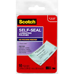 """10ct Laminating Pouches Self-Seal 2"""" x 3.5"""" - Scotch, Clear"""