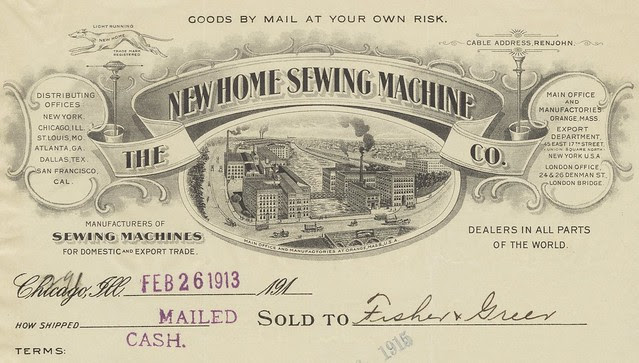 Sewing Machine maker decorated invoice - receipt