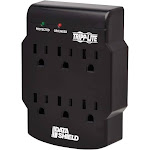 Tripp Lite Surge Protector Wallmount Direct Plug In 120V 6 Outlet 750 Joules Black - Surge Protector - 15 A - AC 120 V - 1800 Watt - Output Connectors