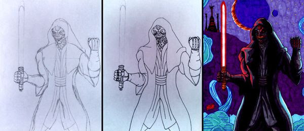 My drawing, plus work-in-progress photos of it, of the Sith Inquisitor...who may or may not be in STAR WARS: EPISODE VII.