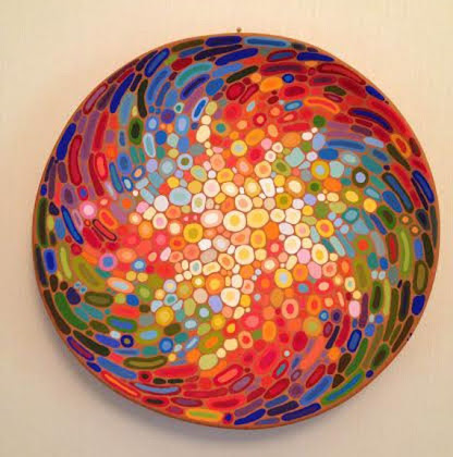 Ceramic wall art abstract decorative plate colourful by Essenziale