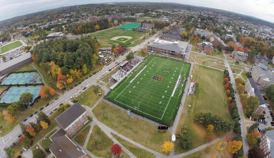An aerial photograph of Garcelon Field taken during the Bates vs. Wesleyan football game on Oct. 11, 2014. (Lincoln Benedict '09)