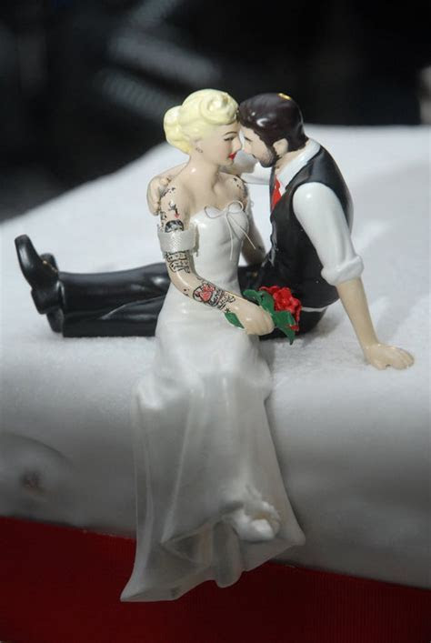 Tattooed Wedding Cake Topper . Bride and Groom Tattoos