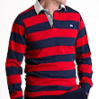 Savile Row Mens Red Navy Stripe Rugby Shirt