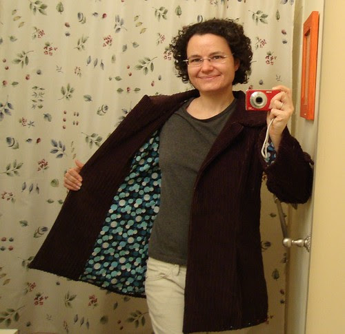 Simplicity 2508 almost done:  lining hemmed on my right side (but still pinned on the left)