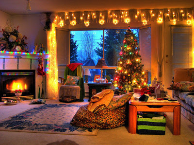 christmas, cosy, cozy, fire, home, lights, room, snow, tree, window