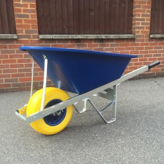 120 Litre Blue Wheelbarrow with Single Fatboy Wheel