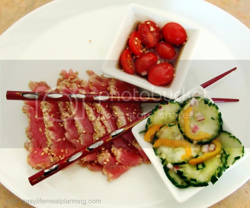 Seared Ahi Tuna with a Pickled Cucumber Salad - Easy Life Meal & Party Planning