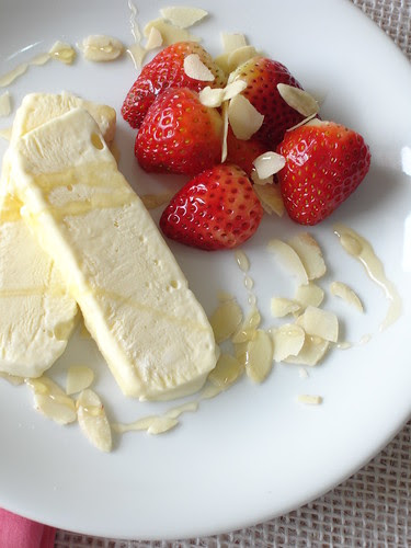 Orange blossom water semifreddo with almonds, honey and strawberries