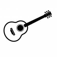 アコースティックギターシルエット イラストの無料ダウンロードサイト