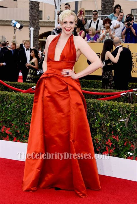 gwendoline christie sexy red halter formal evening dress