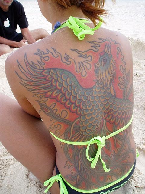 Beach Girl Tattoo Full Back Tattoo Flaming Bird Tattoomagz