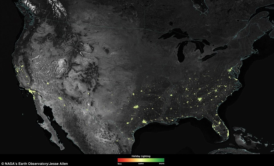 Festive planet: City lights are brighter during the holidays in the US when compared with the rest of the year, as shown using a new analysis of data from the Nasa's Suomi satellite. Green pixels are areas where lights are 50 per cent brighter, or more, during December