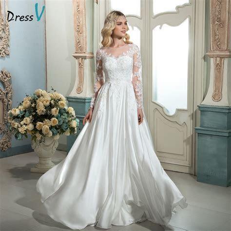 Dressv white vintage scoop neck A line long wedding dress
