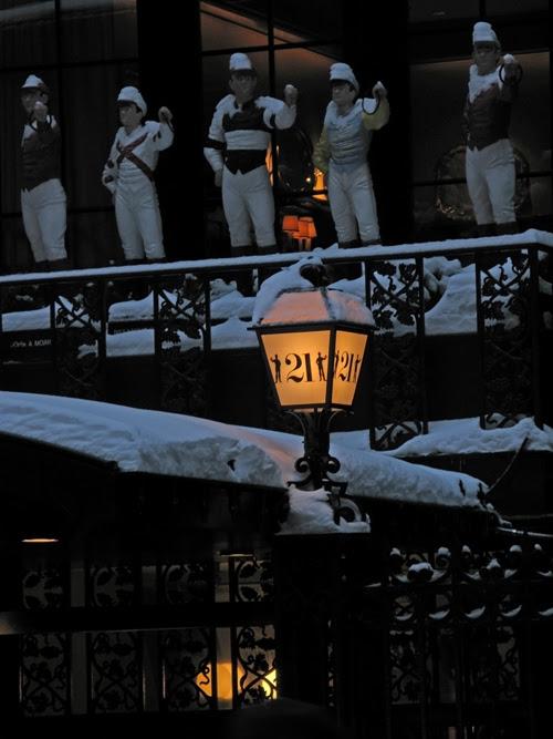 snow on the landmark entrance to 21, Manhattan, NYC